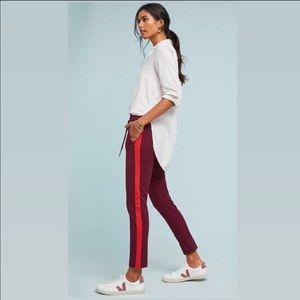 Anthro, Burgundy Orange Stripe High Rise Trousers